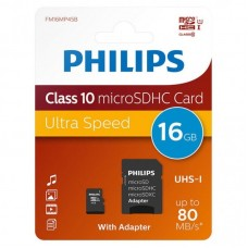 PHILIPS  Микро SDHC 16GB Class10 UHS-I + Адаптер