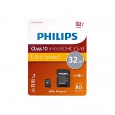 PHILIPS  Микро SDHC 32GB Class10 UHS-I + Адаптер